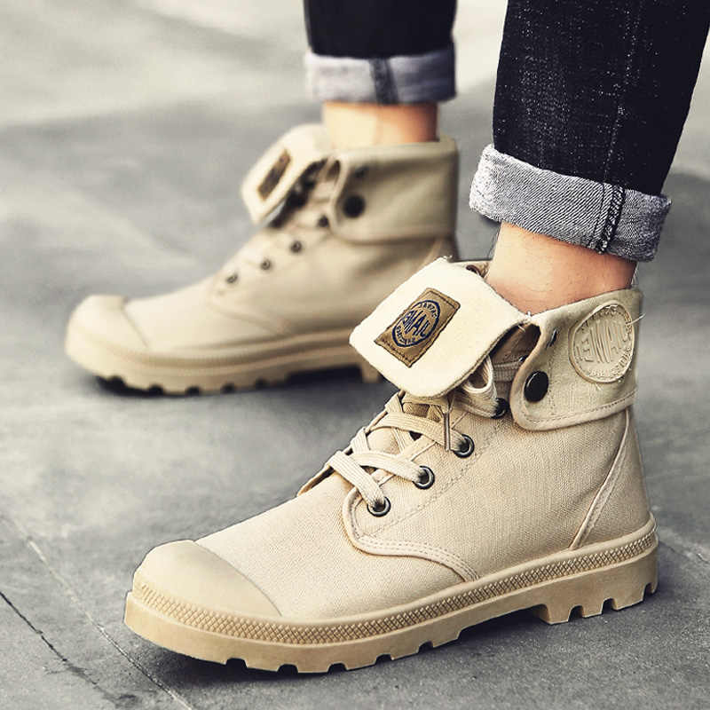 Men high top Canvas shoes Military