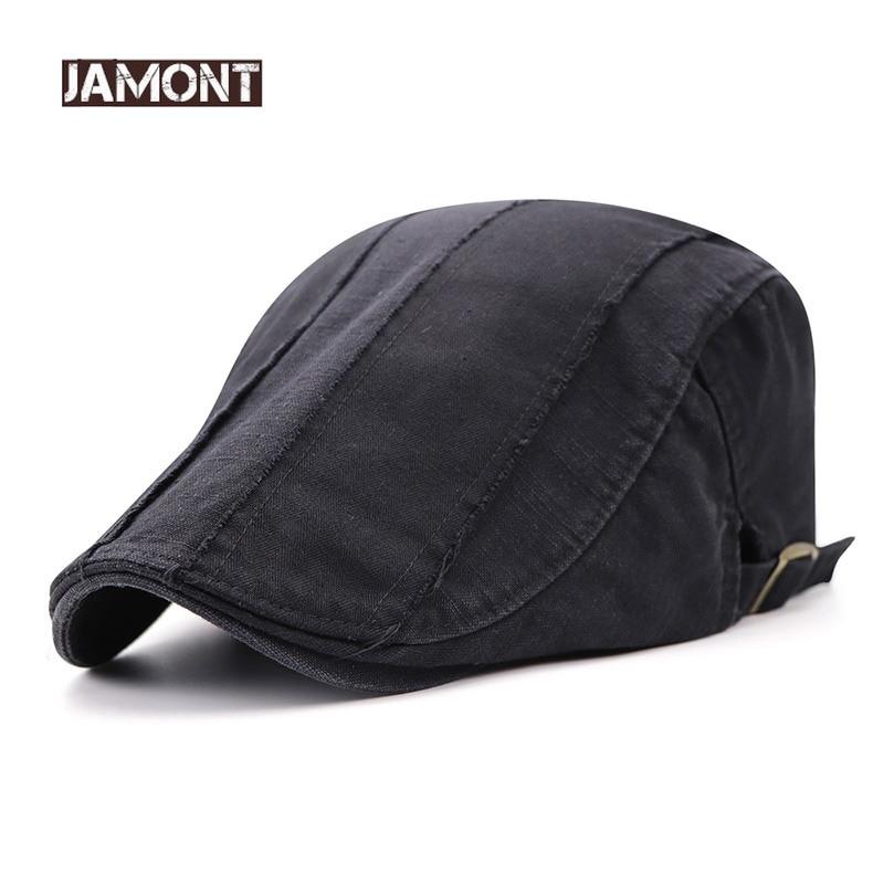 d75a16ae44b97 JAMONT 2018 nouveau décontracté hommes chapeau coton bérets Style Simple  visières Casquette hommes chapeaux plats Casquette
