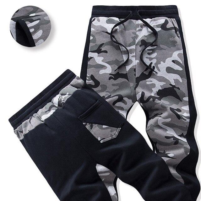 2017 Autumn Winter Thick Warm Pant Grey Camouflage Jogger Pants Soft Cotton Elastic Waist Patchwork Harem Pants Plus Size M-3XL