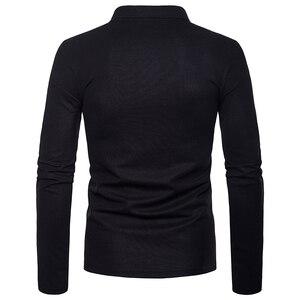 Covrlge جديد العلامة التجارية Oculos الأعمال الأسود والأبيض خياطة الصلبة الذكور قميص بولو كم طويل الوقوف طوق الذكور قميص بولو MTP097