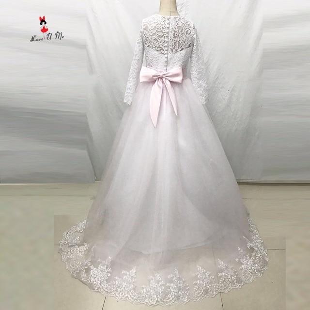 5d44c29223a Princess Light Pink Long Sleeve Flower Girl Dress 2017 Communion Dress  Mother Daughter Gown Pageant Dresses for Girls Glitz Lace
