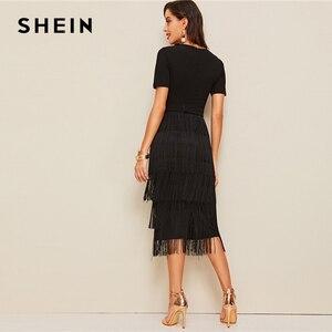 Image 2 - SHEIN Elegant Metal Button Detail Layered Fringe Black Pencil Dress Women High Waist Solid Short Sleeve Summer Slim Long Dresses