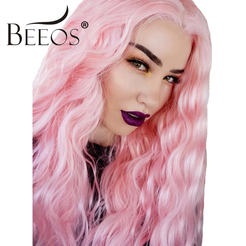 Beeos 180% Density Lace Front Human Hair Wigs for Women Lace Middle Part Pink Wavy Short Bob Wig Brazilian Remy Hair Pre Plucked
