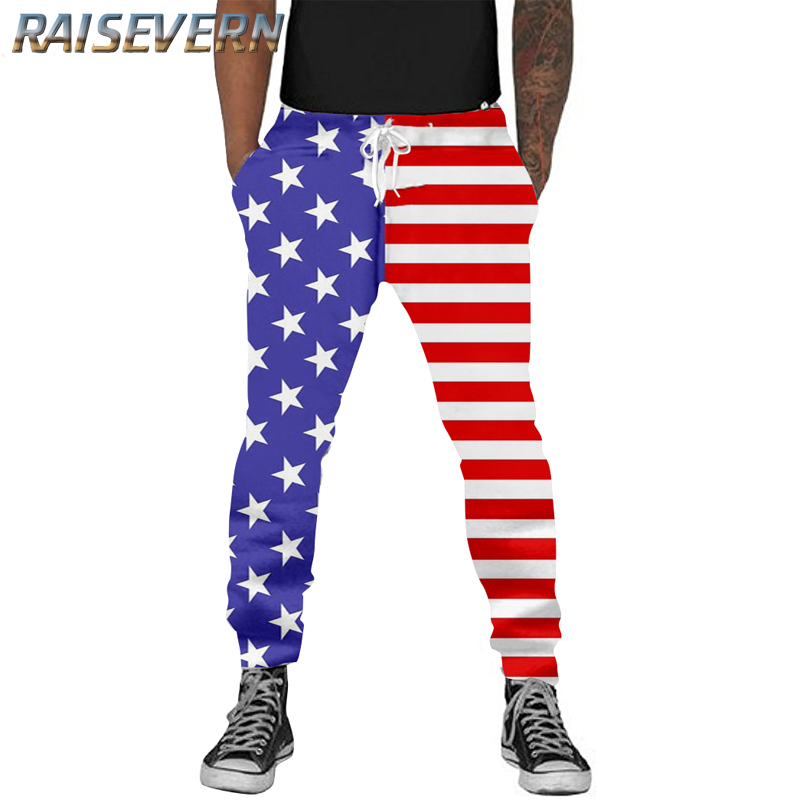 RAISEVERN 3D Print Men Funny Casual Harajuku American Flag Sweat Pants Fashion Clothes Joggers Pant Autumn Fall Winter Trousers