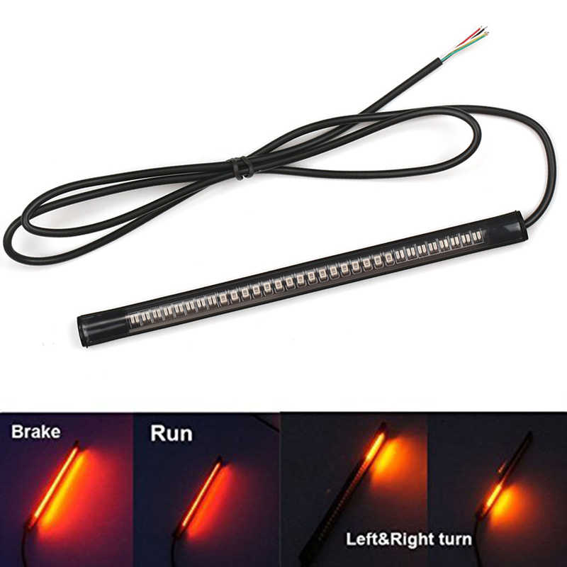 "Universal Flexible 48LED Motorcycle Light Strip Tail Brake Stop Turn Signal Light License Plate Lamp 32"" Red and Amber Led Color"