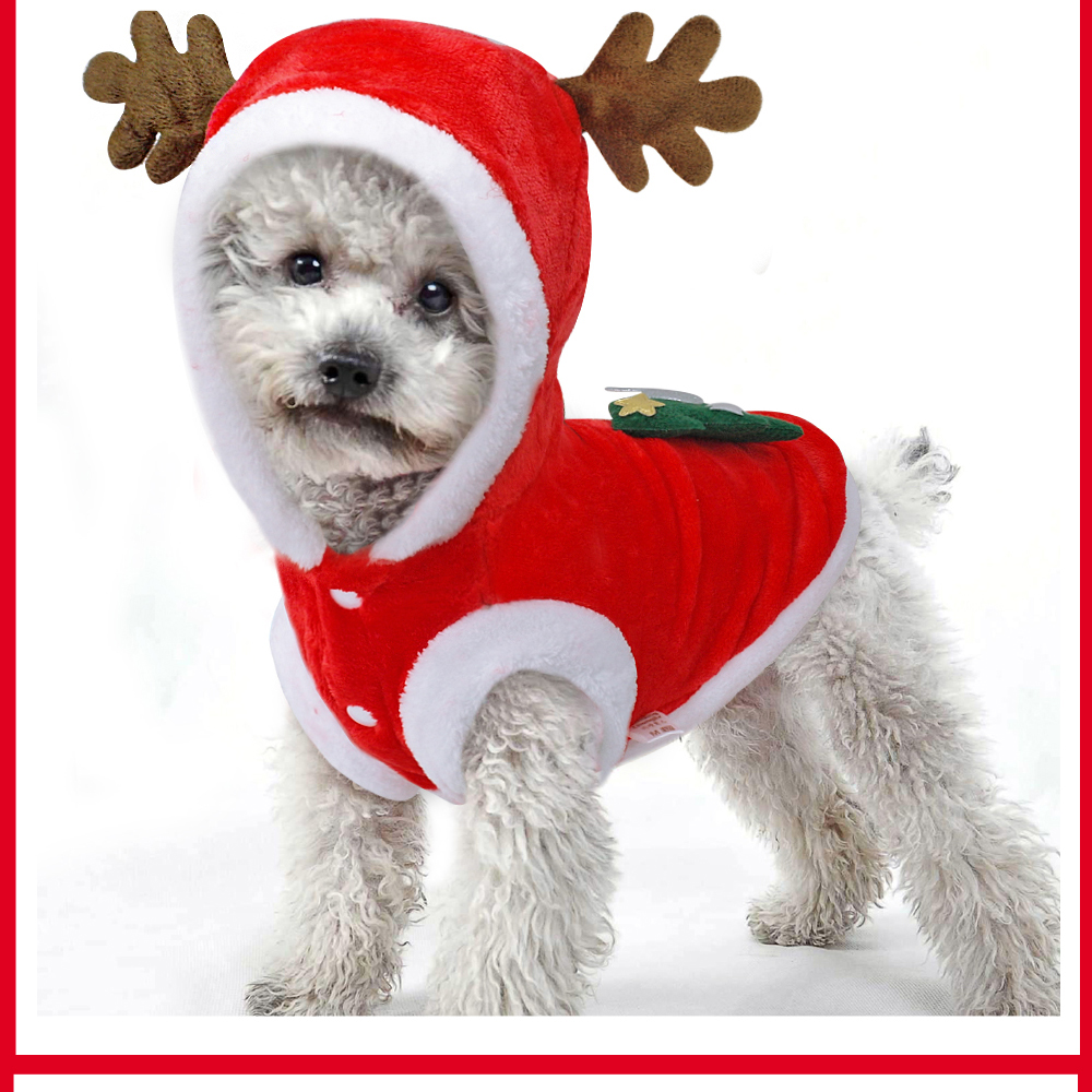 Warm Dog Jacket in Santa Claus Pattern with Hoodie and Warm Cuffs for Small Dogs 18
