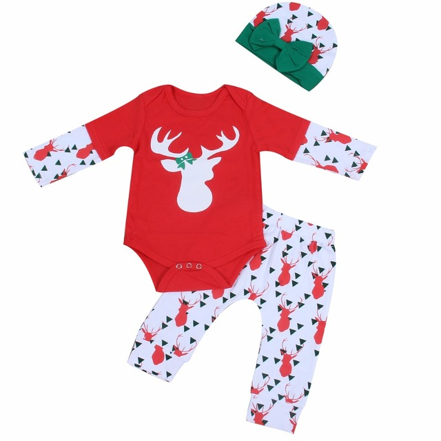 c82cc28325 Cute Newborn Infant Baby Girl Boy Clothes Deer Tops T shirt Long Sleeve  Pants Casual Hat Cap 3pcs Outfits Christmas clothes Set