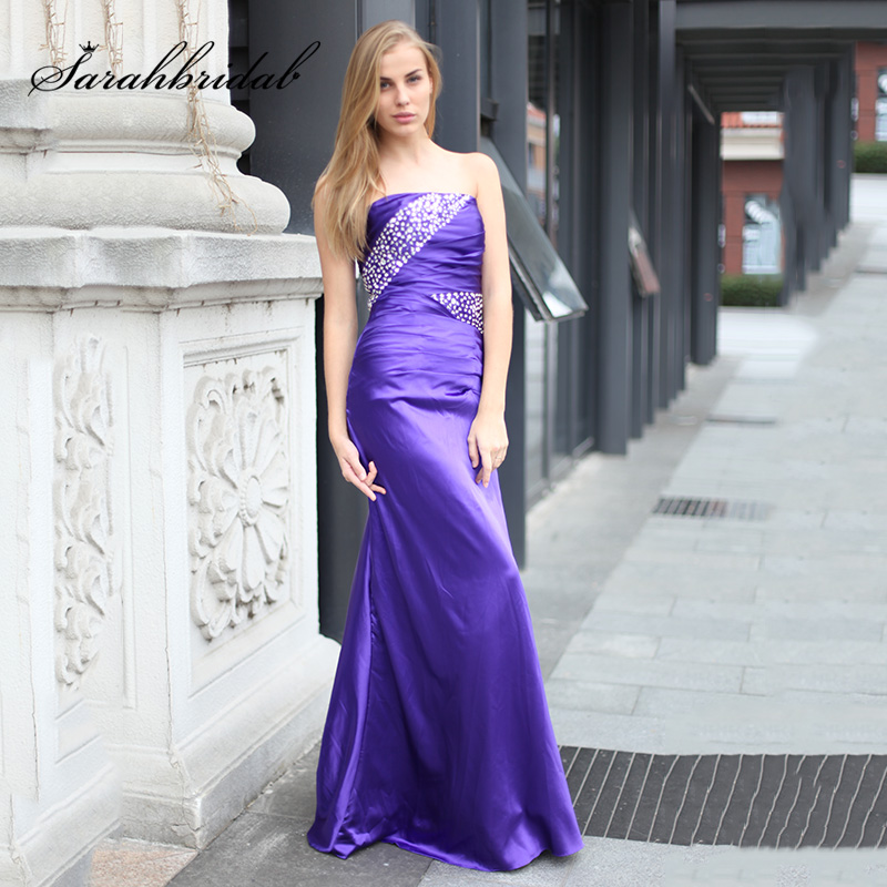 Sexy Beading Mermaid   Prom     Dresses   Cheap in Stock Purple Satin Strapless Plus Size Summer Evening Gowns OS010