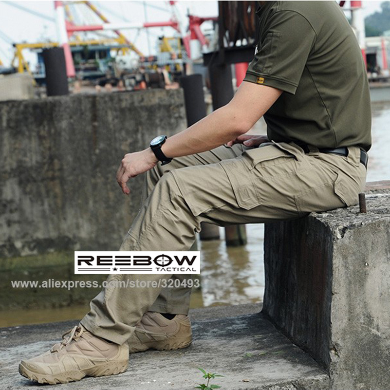 ФОТО REEBOW TACTICAL Men Outdoor Military Cargo Pants Multi-pockets Urban Sports Summer Autumn Ripstop Waterproof Breathable Trousers