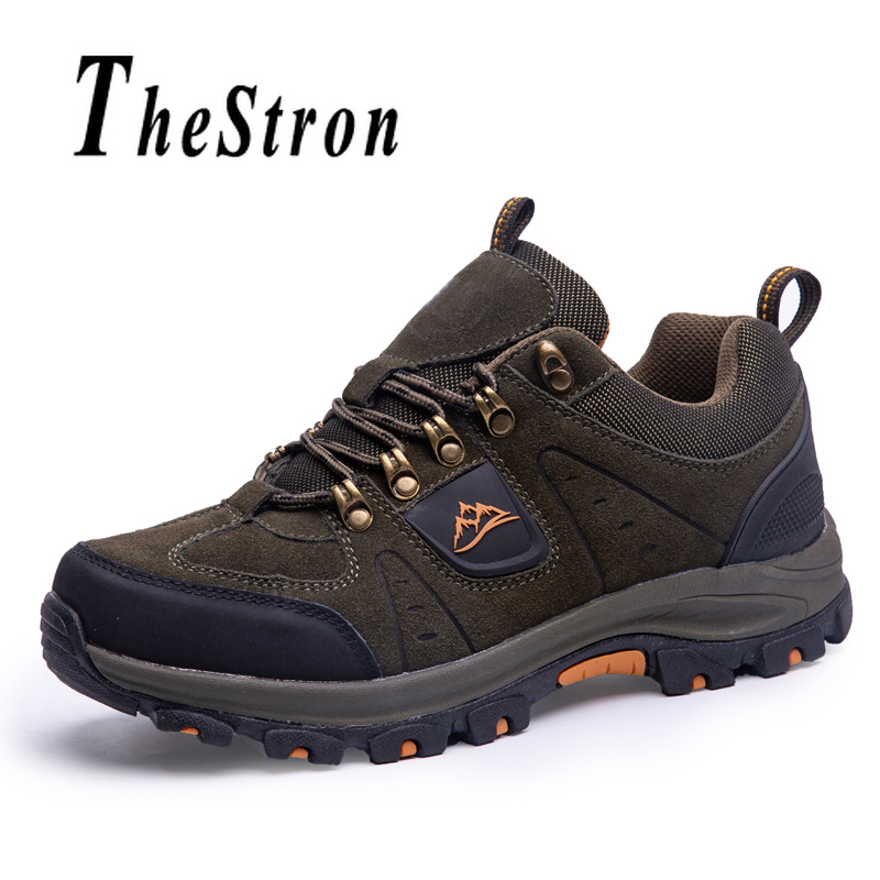 Sport-Shoes Climbing-Sneakers Hill Sole Rubber Men Lace-Up Suede for Anti-Slip Hiking
