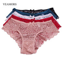 VEAMORS 5pcs Lot Sexy Full Lace Panties For Women New Transparent Floral Bow Ultra Thin Sexy
