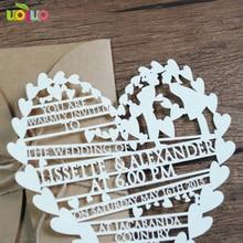 Лазерная резка персонализированные пользовательские карты свадебные приглашения, в форме сердца бумаги свадебная открытка