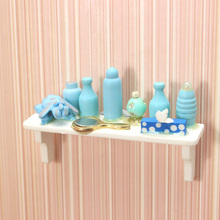 G06-X731 children baby gift Toy 1:12 Dollhouse mini Furniture Miniature rement wooden Baby frame blue 1pcs