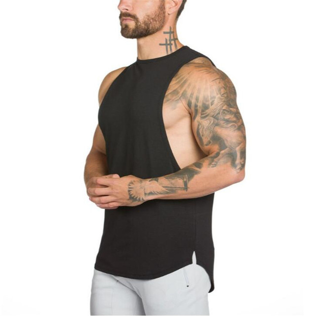 Brand Gyms Stringer Clothing Bodybuilding Tank Top Men Fitness Singlet Sleeveless Shirt Solid Cotton Muscle Vest Undershirt 4