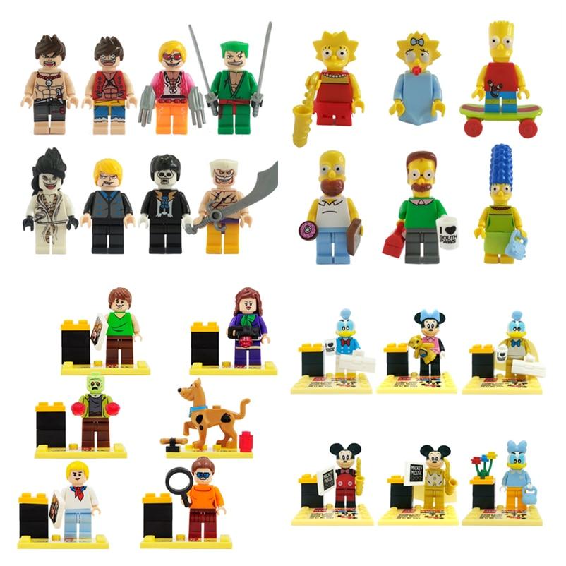 Clearance Sale JLB Single Cartoon Figure Scooby Doo ONE PIECE Mr Bean Building Blocks Set Model Bricks Toys