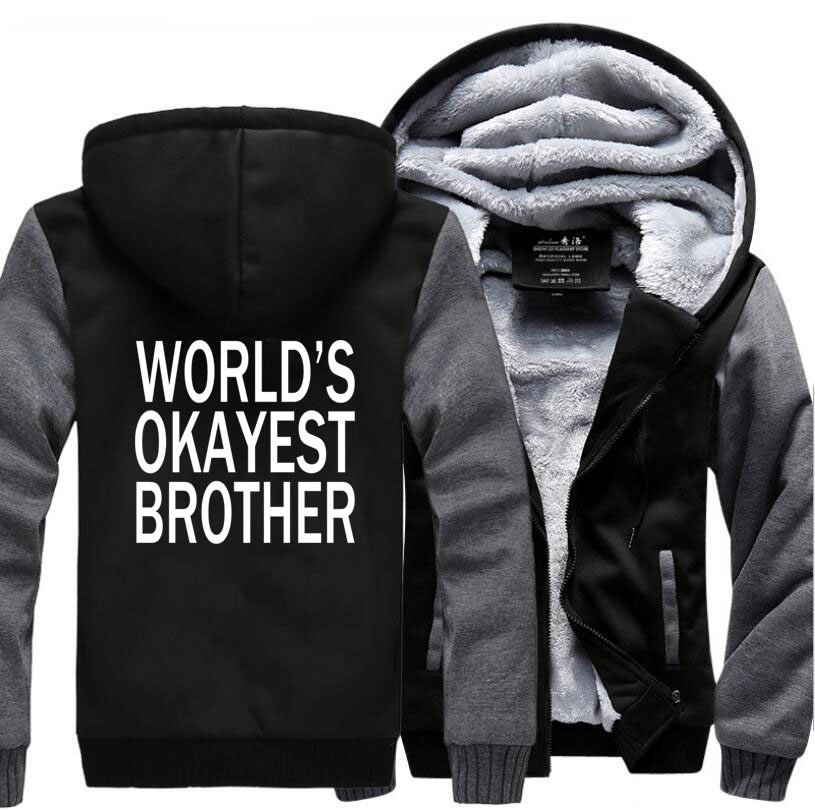 HAMPSON LANQE Worlds Okayest Brother Letters Raglan Sleeve Hoodie Men 2019 Winter Fleece High Quality Thicken Mens Sweatshirts