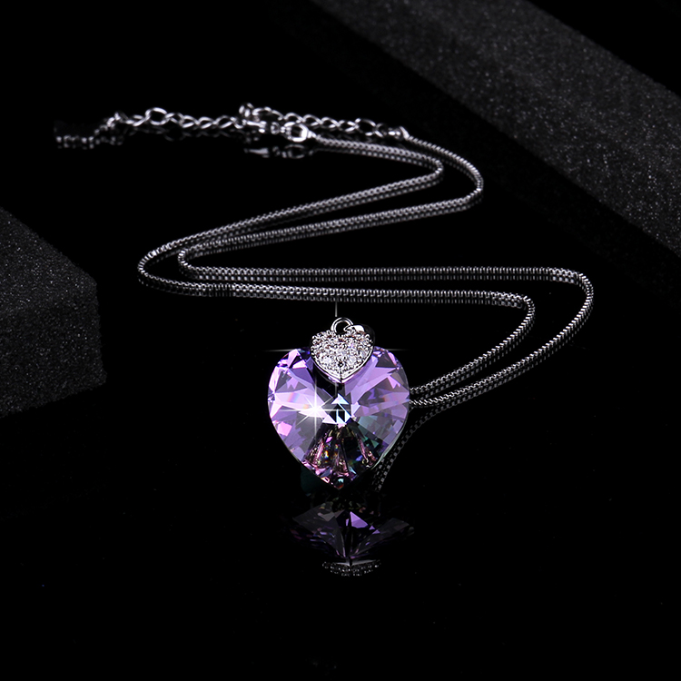 Swarovski Crystal Necklace Heart Shape Amethyst Crystal Pendant Necklace Fashion Jewelry Choker Necklace Gift for Lady Collares
