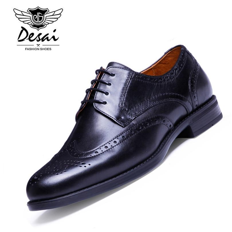 Ayakk.'ten Erkek Rahat Ayakkabılar'de DESAI Marka Erkekler Oxford Ayakkabı En İyi Kalite Hakiki Deri Erkek Casual İş Elbise Brogue erkek ayakkabısı Siyah Kahverengi Boyutu 38  43'da  Grup 1