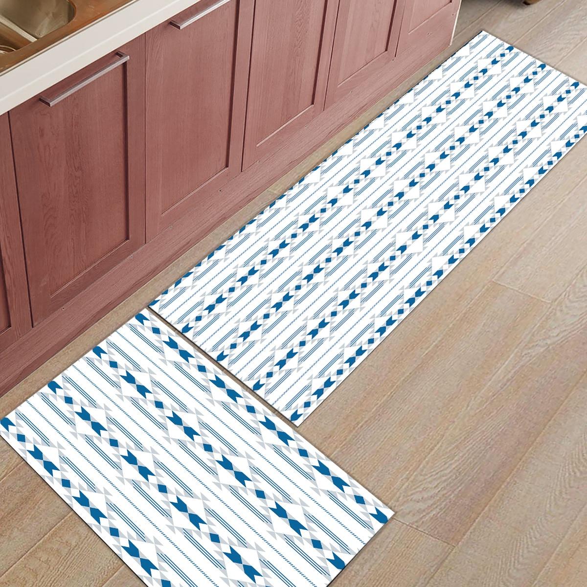 2 pièces cuisine tapis et tapis ensemble moderne Boho bohème ethnique motif maison Deocr antidérapant zone coureur paillassons tapis