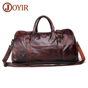 JOYIR Soft Cow Leather Extra Large Weekend Duffel Bag Large Genuine Leather Business Men's Travel Bag Popular Design Duffel Bags