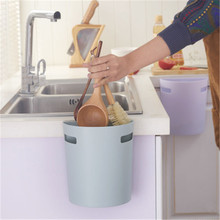 New wall-mounted semi-circular kitchen cabinet door small trash can creative household sticky desktop without cover storage