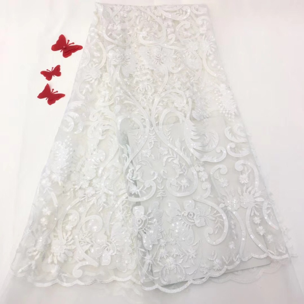 wedding lace High End Wedding Party Dress Lace Fabric French Lace Fabric fashion Sequins African Textile Lace Fabrics JJH64 in Fabric from Home Garden