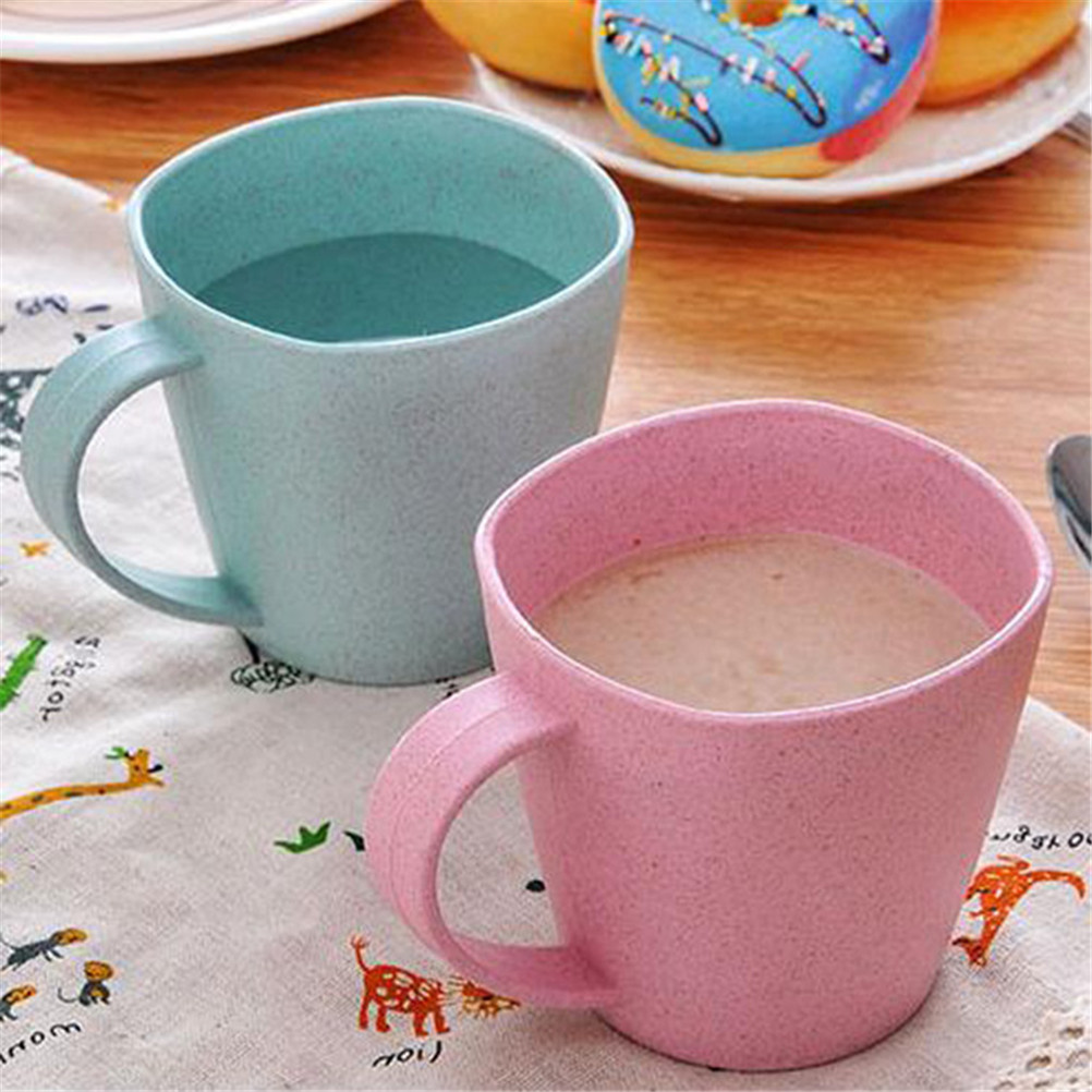 Nordic Style Plastic Tea Cups Eco-Friendly Wheat Straw Cup Coffee Tea Milk Drink Cup Toothbrush Cup for Home Bathroom cup