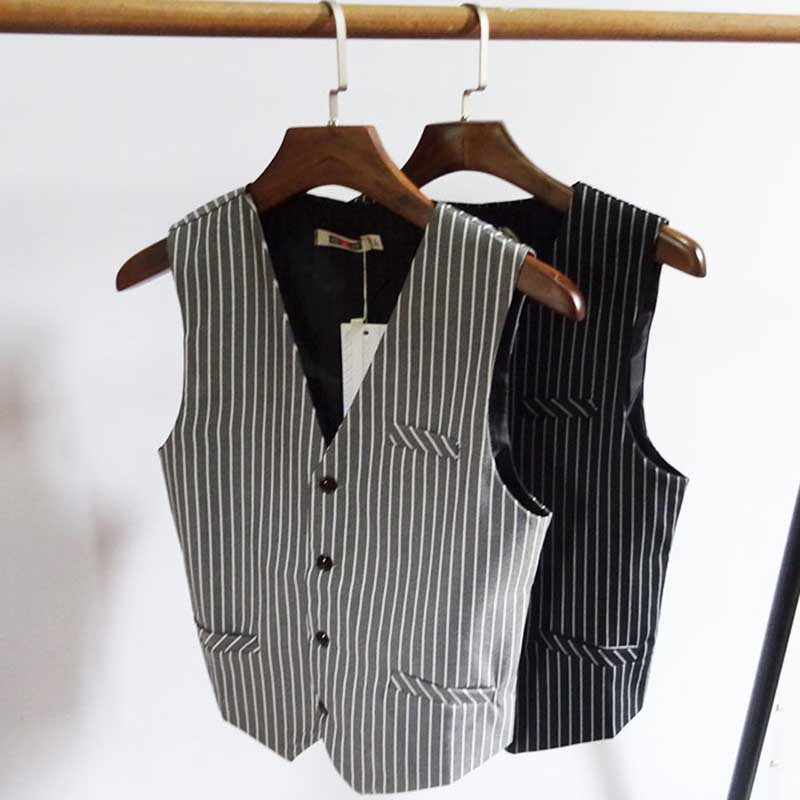 England Style Retro Slim Suit Vest For Men Casual Business Striped Suit Vest Korean Fashion Waistcoat Man Clothing Plus Size 7XL