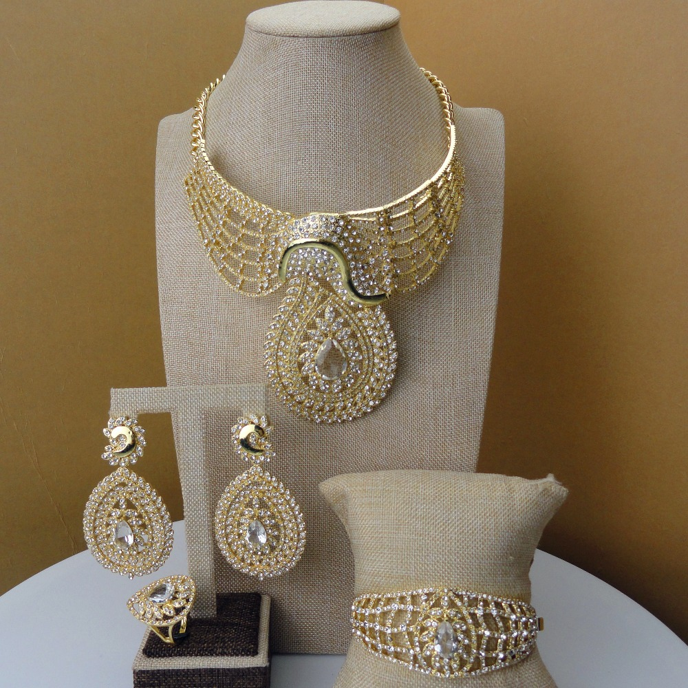 2019 India Design Dubai Costume Jewelry Rhinestone Jewelry Sets FHK5301