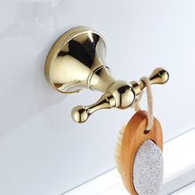 Luxury Gold Brass Coat Hook Bathroom Hardware Wall Mounted Hanging ZD877