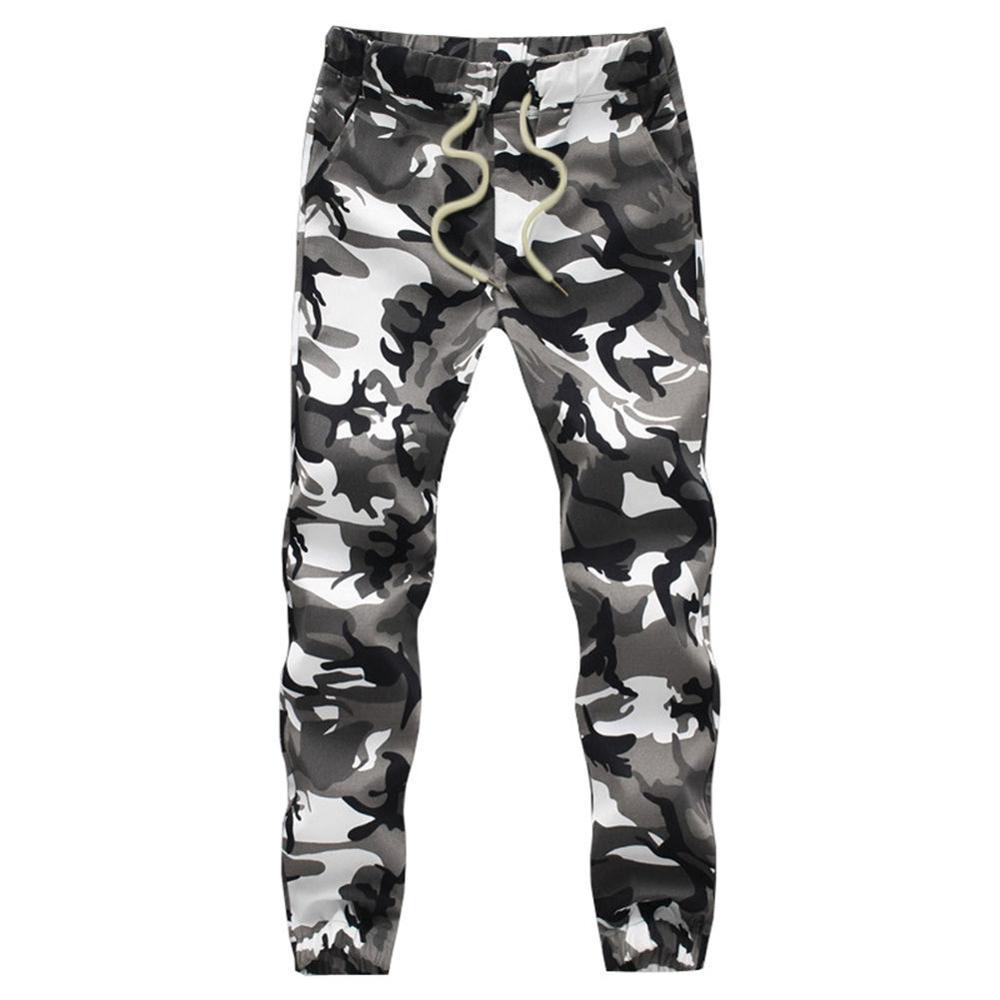 YUNY Mens Baggy Solid High Rise Cotton Outdoor Camo Print Jogger Pant Army Green 32