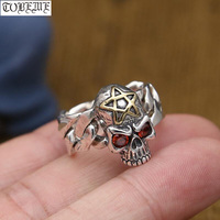 Handmade 100% 925 Silver Skull Ring Sterling Star Ring Man Ring Punk Jewelry