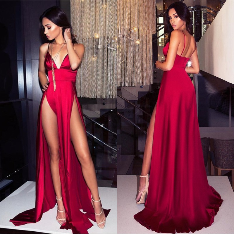 Cinderella Red V-Neck Spaghetti Side Slit Sexy   Evening     Dresses   Sleeveless Backless Silk Satin Zipper Back Party   Evening     Dresses