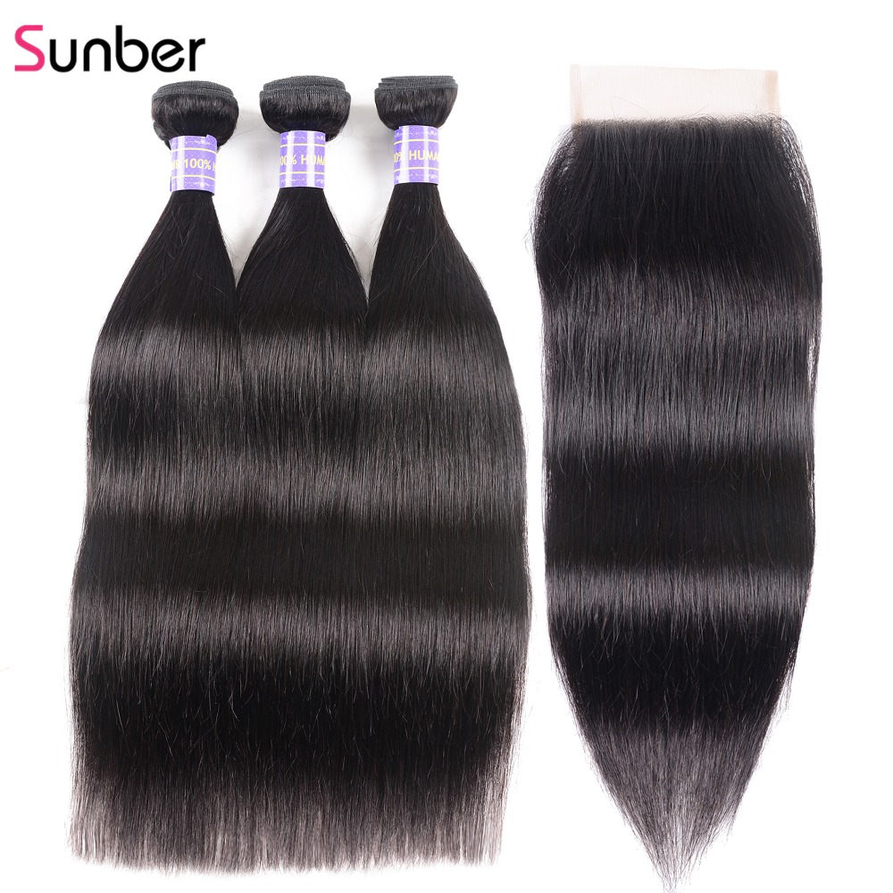 SUNBER HAIR Remy Peruvian Straight Hair 3 Bundles with Closure 4x4 Inch Swiss Lace Free Middle