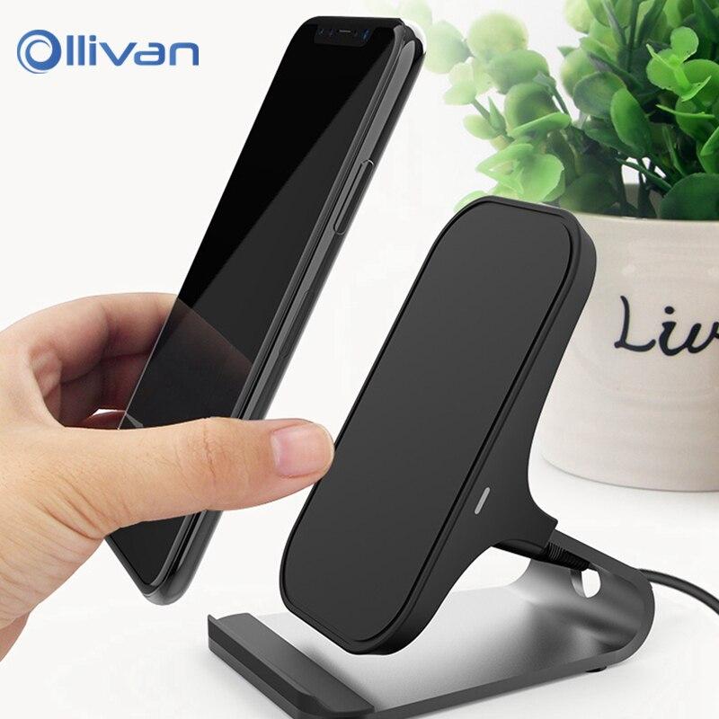Ollivan QC Sans Fil Chargeur Pour iPhone X 8 Samsung S9 S8 S7 S6 Bord Note 8 Téléphone Rapide Sans Fil De Charge Pad Accueil Dock Station