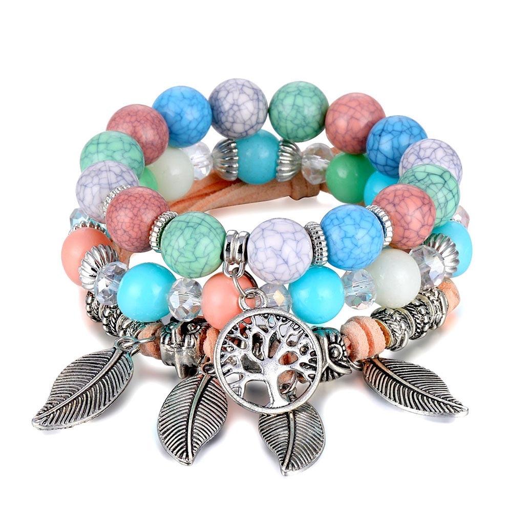 Классический Набор браслетов «Древо жизни» для женщин, многослойный винтажный браслет из натурального камня в виде листьев, браслеты и браслеты, ювелирные изделия, подарки - Окраска металла: S358-4