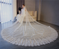 Ivory 300cm one layer 2018 New Cathedral Bridal Veil Long Wedding Veil Lace Edge Bride Wedding Accessories