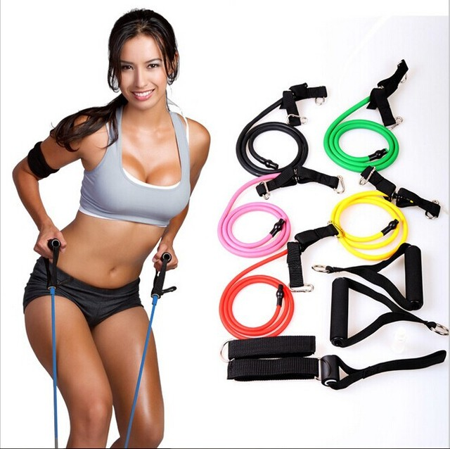 Resistance Training Bands Tube Workout Exercise For Women Girl Gym Yoga Body Fitness Sports Building Fitness Equipment Tool