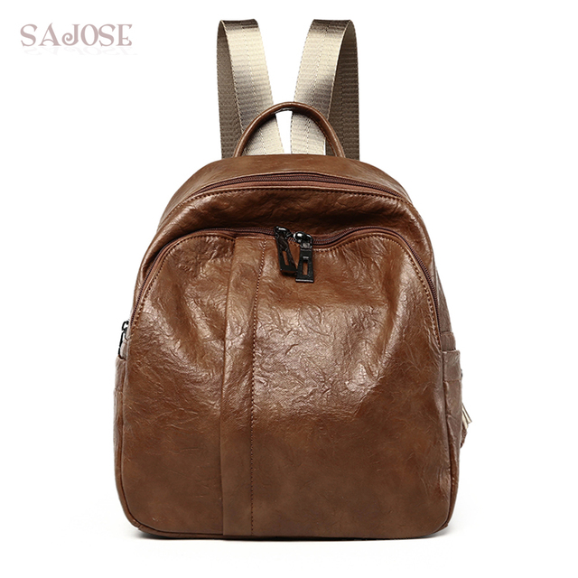 ba8c4fafe0 Women Vintage Leather backpack Female Brown Fashion School Backpacks Bag  High Quality Shoulder Bag DropShipping