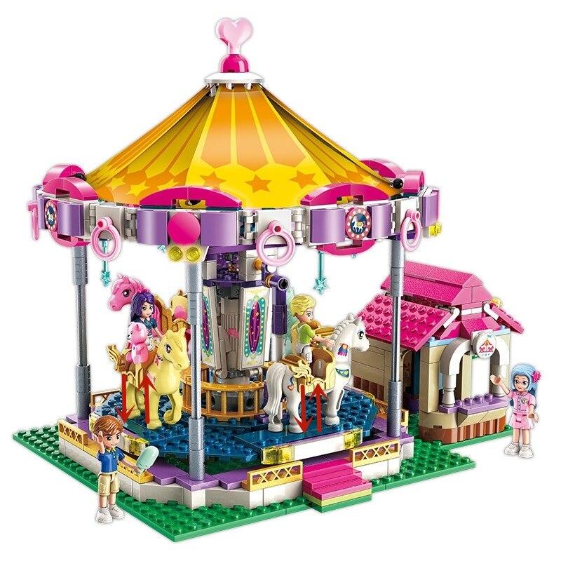 Città Delle Ragazze Della Principessa Fantasy Carosello Building Blocks Set Mattoni Modello Kids Classic Compatibile Legoings Amici di Natale Di Natale