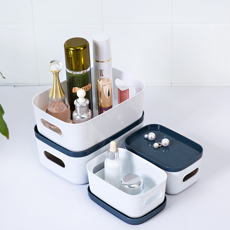 Fashion Desktop Cosmetic Sundries Storage Box Multi-functional Dressing Table Makeup Storage Box With Cover
