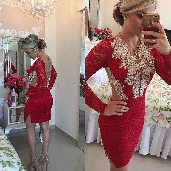 ZZ1546 Charming Full Sleeve Appliques Cocktail Dresses 2018 Beautiful Mini Lace Button Straight Cocktail Dresses