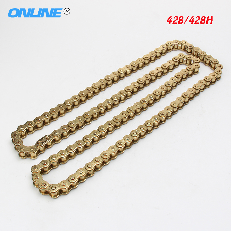 Motorcycle Motorcross KMC heavy duty 428 428H GOLD Racing Chain 110 links Mini Pit Dirt Bike 50cc 70cc 110cc 125cc 140cc 150cc 428h chain rear sprocket 37 tooth 58mm diameter for crf50 xr50 dirt pit bike motorcycle motocross 428 gear fit 10inch rear wheel