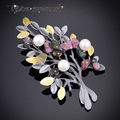 """IYOE Black Gun Plated Natural Stone """" Tree"""" Brooches Pendant Accessories Fashion Imitation Pearl Brooch pins Vintage Jewelry"""
