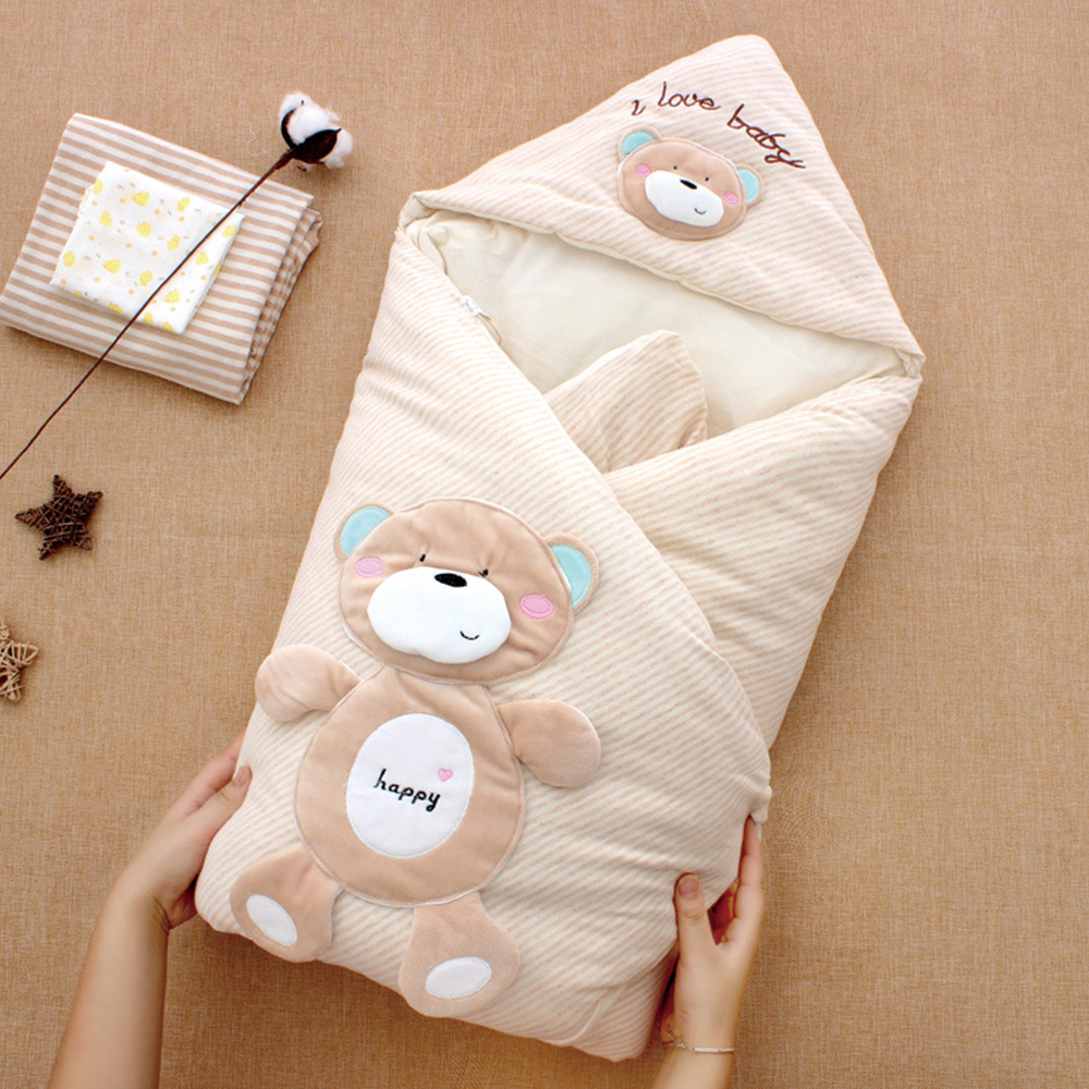 Colored Cotton Baby Blanket Winter Thick Detachable Inner Pad Bedding Sets Newborn Blanket Cartoon Animal Design Baby Swaddle