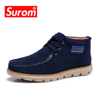 SUROM Brand High Quality Real Leather Mens Riding Boots Winter Equestrian Shoes Men
