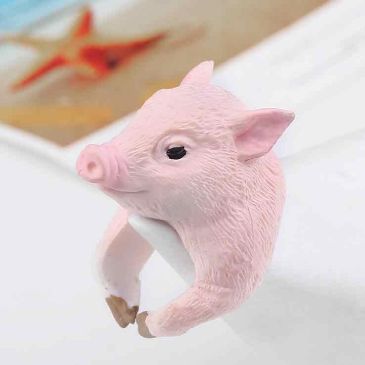 Alta Qualidade 1 PCS 2017 Novo Design Encantador Porco Cor de Rosa Anéis Estilo na moda Bonito 3D Animal Dedo Anéis para as mulheres jóias melhor presente