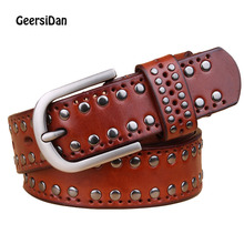 лучшая цена GEERSIDAN Fashion Luxury genuine leather belt for women High quality cowskin retro rivet wide men belt pin buckle Unisex strap