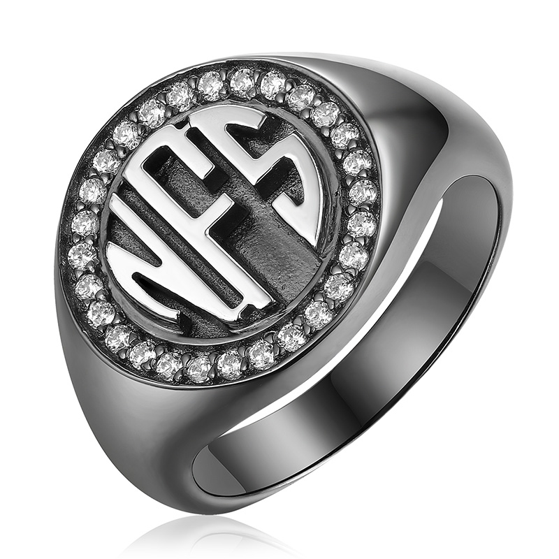AILIN Personalized Classic Circle Monogram CZ Ring Black Plated Color MO Signet Ring For Christmas Gift