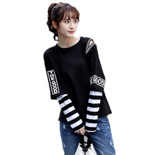 Spring Autumn fashion loose tops for women Fake two pieces patchwork stripe long sleeve letter print big size t-shirts female(China)